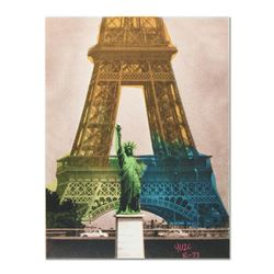 """Ringo"" Daniel Funes ""Eiffel Tower"" Original Mixed Media On Canvas (Warhol Protégé)"