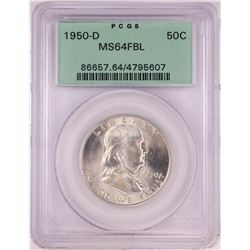 1950-D Franklin Half Dollar Coin PCGS MS64FBL Old Green Holder