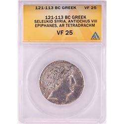 121-113 BC Ancient Greek Seleukid Syria Antiochus VIII Epiphanes Tetradrachm ANACS VF25