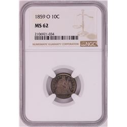 1859-O Seated Liberty Dime Coin NGC MS62