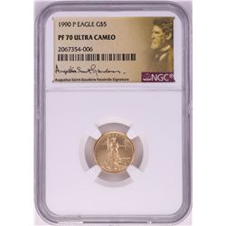 1990-P $5 Proof American Gold Eagle Coin NGC PF70 Ultra Cameo