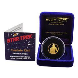 Limited Edition 1989 Star Trek Captain Kirk Commemorative 1/4 oz Gold Medal w/COA