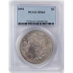 1894 $1 Morgan Silver Dollar Coin PCGS MS61