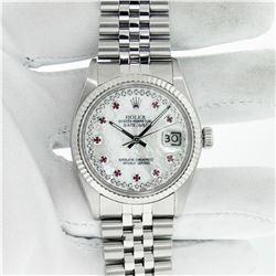 Rolex Men's Stainless Steel MOP Diamond & Ruby Datejust Watch With Rolex Box