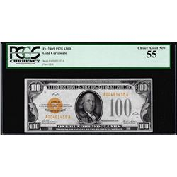 1928 $100 Gold Certificate Note Fr.2405 PCGS Choice About New 55