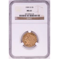 1909-D $5 Indian Head Half Eagle Gold Coin NGC MS61