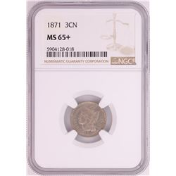 1871 Three Cent Nickel Coin NGC MS65+