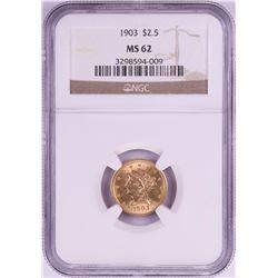 1903 $2 1/2 Liberty Head Quarter Eagle Gold Coin NGC MS62