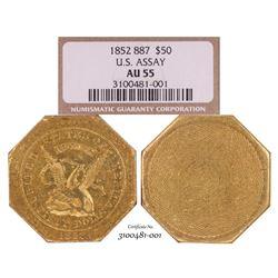 1852 $50 U.S. Assay 887 Territorial  Gold Slug Coin NGC AU55