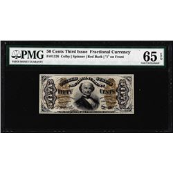 1863 Fifty Cents Third Issue Fractional Note Fr.1326 PMG Gem Uncirculated 65EPQ