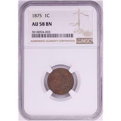 1875 Indian Head Cent Coin NGC AU58BN