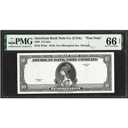 1929 10 Unit American Bank Note Co.  Test Note  PMG Gem Uncirculated 66EPQ
