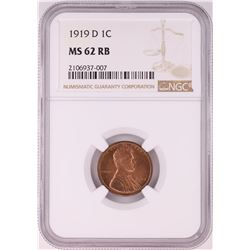 1919-D Lincoln Wheat Cent Coin NGC MS62RB