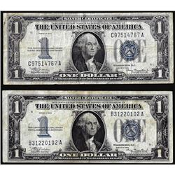 Lot of (2) 1934 $1 Funnyback Silver Certificate Notes