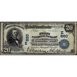 1902 Date Back $20 NB of Washington, New Jersey CH# 860 National Currency Note