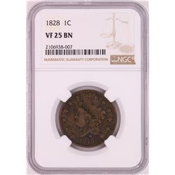 1828 Coronet Head Large Cent Coin NGC VF25BN