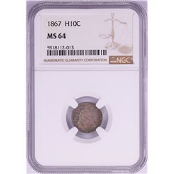 1867 Seated Liberty Half Dime Coin NGC MS64