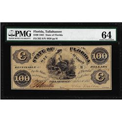1861 $100 State of Florida Tallahassee Cr.2 Obsolete Note PMG Choice Uncirculated 64