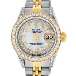 Rolex Ladies Two Tone Steel & Gold MOP Diamond Oyster Perpetual Datejust Watch
