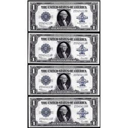 Cut Sheet of (4) Consecutive 1923 $1 Silver Certificate Notes