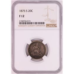1875-S Twenty Cent Piece Coin NGC F12