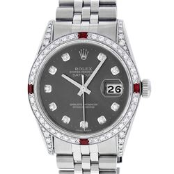 Rolex Men's Stainless Steel Diamond & Ruby Datejust Wristwatch