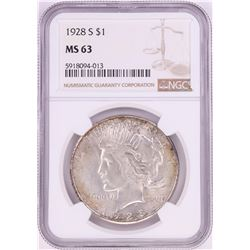 1928-S $1 Peace Silver Dollar Coin NGC MS63