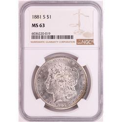 1881-S $1 Morgan Silver Dollar Coin NGC MS63 Nice Toning