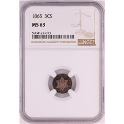 1865 Three Cent Silver Piece Coin NGC MS63