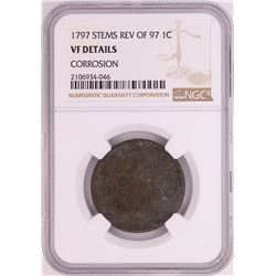 1797 Stems Rev of 97' Draped Busted Large Cent Coin NGC VF Details