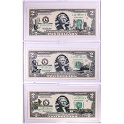 Lot of (3) 2003A $2 Colorized Overprint Federal Reserve Notes in Cases