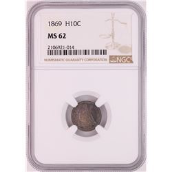 1869 Seated Liberty Half Dime Coin NGC MS62