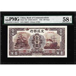 1942 Bank of Communications China 100 Yuan Pick# 165 PMG Choice About Unc 58EPQ