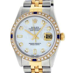 Rolex Men's Two Tone Steel & Gold Mother Of Pearl Diamond & Sapphire Datejust Watch