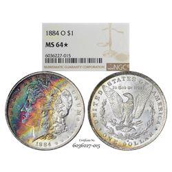 1884-O $1 Morgan Silver Dollar Coin NGC MS64* Star Amazing Toning