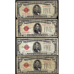 Lot of (4) 1928C $5 Legal Tender Notes
