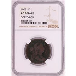 1803 Draped Bust Large Cent Coin NGC AG Details