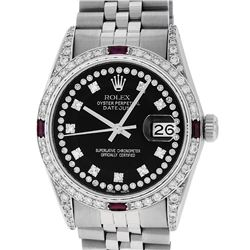 Rolex Mens SS Black String Diamond Lugs & Ruby Oyster Perpetaul Datejust