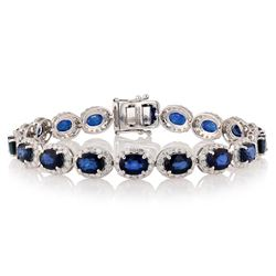 18.13 ctw Blue Sapphire and 3.92 ctw Diamond 14K White Gold Bracelet