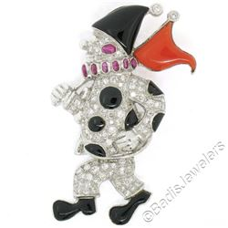 Vintage 18kt White Gold Diamond Black Onyx and Coral Clown Brooch Pin