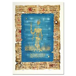 """Moshe Castel, """"Moses"""" Limited Edition Gold Embossed Serigraph with Letter of Aut"""