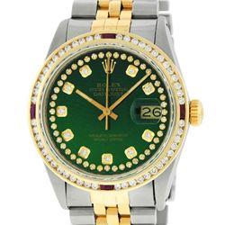 Rolex Mens 2 Tone Green String Diamond & Ruby Diamond Datejust Wristwatch