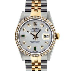 Rolex Mens 2 Tone Mother Of Pearl Diamond Oyster Perpetual Datejust 36MM
