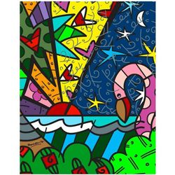 "Romero Britto ""Real"" Hand Signed Limited Edition Giclee on Canvas; Authenticated"