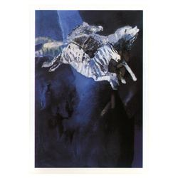 """Edwin Salomon, """"Zebras in Blue"""" Hand Signed Limited Edition Serigraph with Lette"""