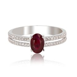 1.10 ctw Ruby and  0.24 ctw Diamond 14K White Gold Ring (GIA CERTIFIED)