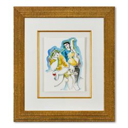 Yuroz, Framed Original Mixed Media Watercolor Painting, Hand Signed with Letter