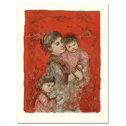 """""""Lorelei and Children"""" Limited Edition Lithograph by Edna Hibel (1917-2014), Num"""