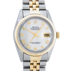 Rolex Mens 2 Tone Mother Of Pearl Roman Datejust Wristwatch