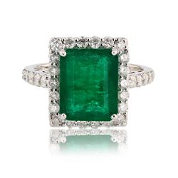 4.06 ctw Emerald and 1.10 ctw Diamond 14K White Gold Ring